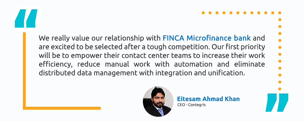 Eitesam Ahmad Khan – CEO, Contegris - Technology Simplified - Finca Testimonial - Intellicon