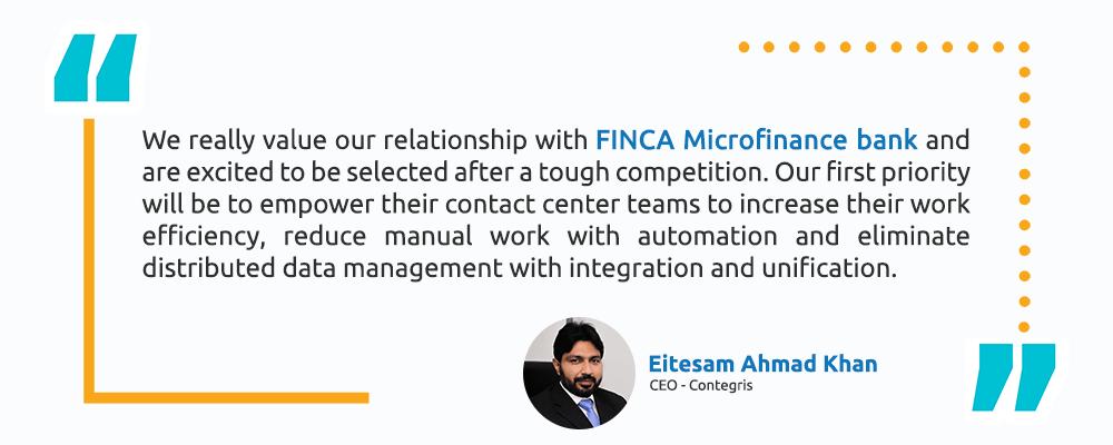 Eitesam Ahmad Khan – CEO, Contegris - Technology Simplified - Finca Testimonial - Intellicon